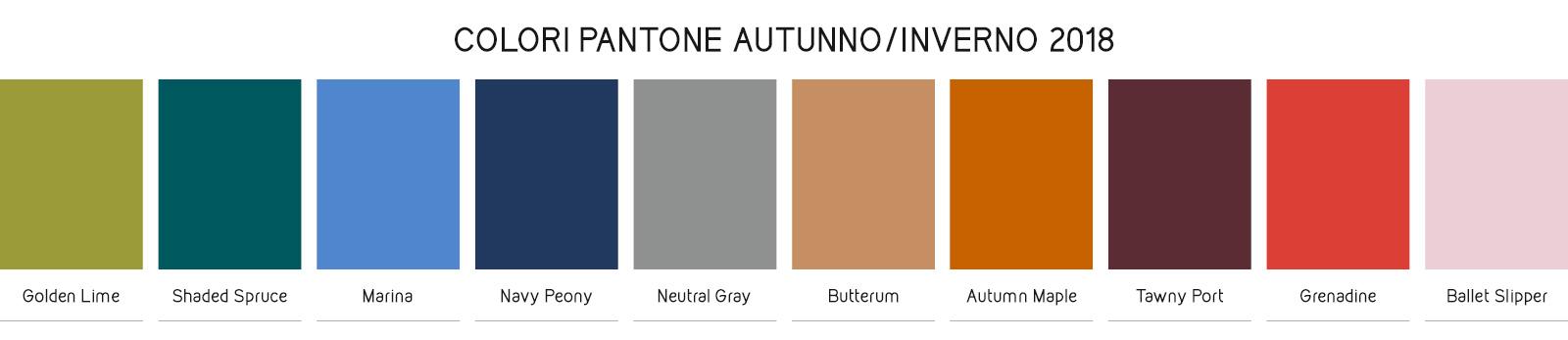 Colori Pantone autunno/inverno 2018